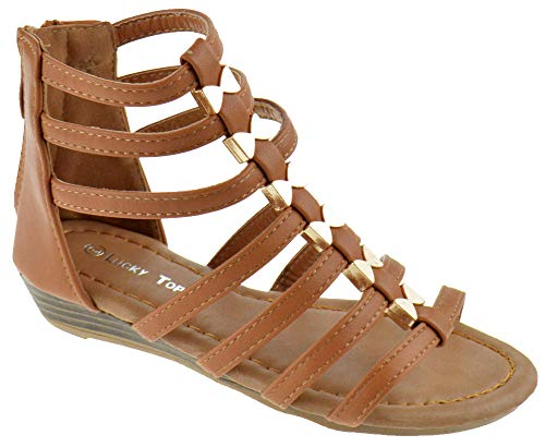 Lucky Top Avery 1K Little Girls Metal Bow Caged Peep Toe Gladiator Wedge Sandals Tan 10