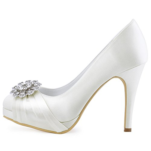 buy cheap cost ElegantPark Women Pumps Closed Toe Platform High Heel Buckle Satin Evening Party Wedding Shoes New Ivory cheap sale classic buy online outlet buy cheap for nice cheap price factory outlet RbdabI