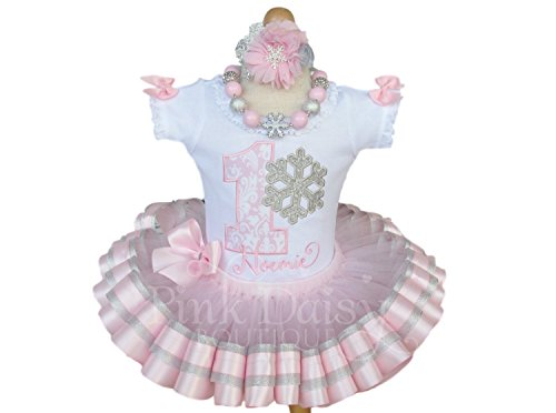 Girls Snowflake Birthday Outfit with Personalized Shirt and Ribbon Trim Tutu in Pink and Silver