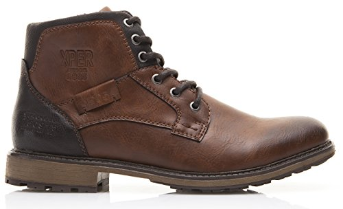 XPER Men's Brown Fashion Lace up Motorcycle Combat Winter Ankle Boots - stylishcombatboots.com