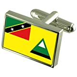 Nevis Local Sterling Silver Flag Cufflinks in Engraved Personalised Box