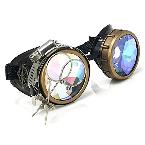 Steampunk Victorian Style Goggles with Compass Design & Ocular Loupe,3D Rainbow Prism Kaleidoscope Rave Glasses -