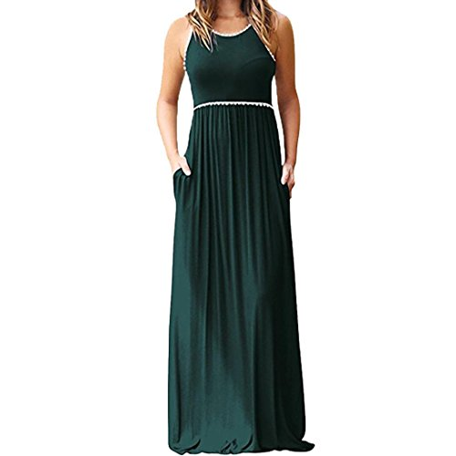 FEITONG Women's O-Neck Sleeveless Maxi Dresses Casual Long Dresse with Pocket(2XL,Green) by FEITONG
