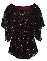 Women's Sequin Beaded Sparkly Evening Blouse