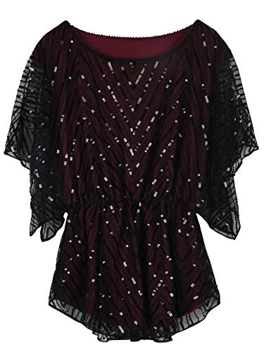 PrettyGuide Women's Sequin Tunic Top Short Sleeve Sparkle Holiday Wedding Party Blouse Burgundy US16