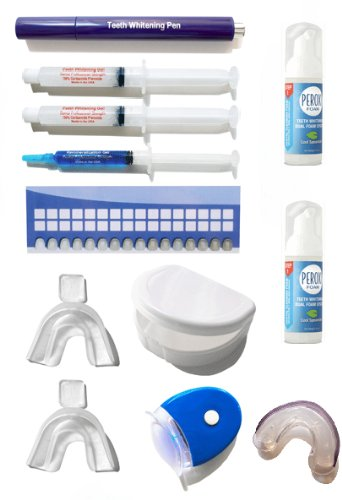 Super Teeth Whitening Kit with Tooth Whitener Pen, Plasma Light Transmitter, Foaming 2-Step Whitener System = The MOST Complete Kit on the market! (Plasma Light Teeth)