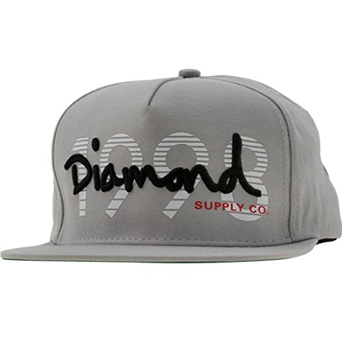 Diamond Supply Co Men's 1998 OG Script Snapback Cap Grey White Black (Diamond Accessories Supply Co)