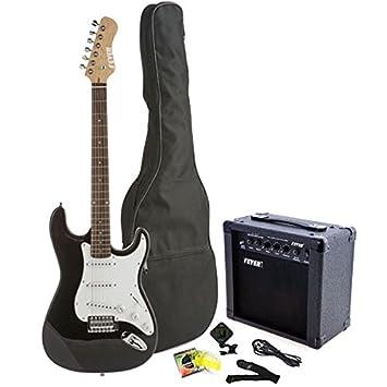 Fever Tamaño Completo Guitarra eléctrica con amplificador de 20 watts Gig Bag Clip Sintonizador de cable Correa y cuerdas color azul A600 - 20 W-bl: ...