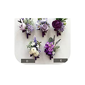 meiguiyuan Purple Bridesmaid Wrist Flowers Handmade Wedding Corsages and Boutonnieres Brooch Artificial Rose Bride Groom Boutonniere 20