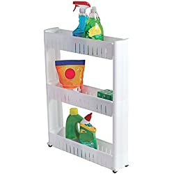 Laundry Room Portable Storage Cart - Slim Rolling Pull Out Cabinet Rack Tower With Wheels - 3 Shelves -Narrow Space Organization Ideas for Pet Closets Apartment Kitchen Bathroom by Perfect Life Ideas