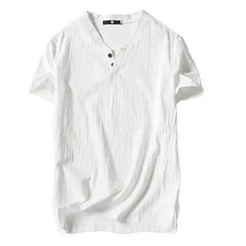 Haut De Confortable shirt Blouse Hommes Top Coton Beige Plage cou Chemise T V Yoga Courte Lin Amlaiworld Manche Été Oawq1nx