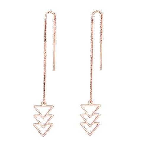 - MANZHEN Geometric Triple Triangle Hollow Out Drop Threader Earrings Fashion Earrings (rose gold)