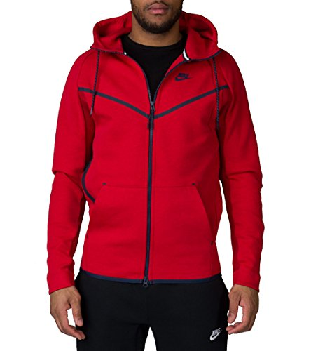 Nike Men's Tech Fleece Windrunner Hero HyperMesh Hoodie Jacket - Black/Red (X-Large)