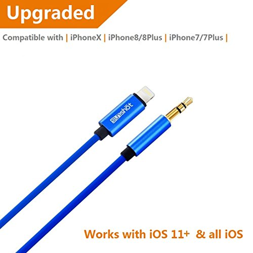 [Upgraded] Lightning to 3.5mm Male Aux Stereo Audio Cable, Compatible with iOS 11 or Above, iPhone 7 / 7P / 8 / 8P / X or Any Lightning Port to Car Stereo Speakers or Headphone Audio Jack (Iphone Stereo Cable)