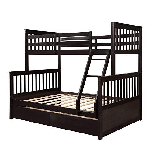 Best Captains Bed With Trundle Espressos - Harper&Bright Designs Twin-Over-Full Bunk Bed with