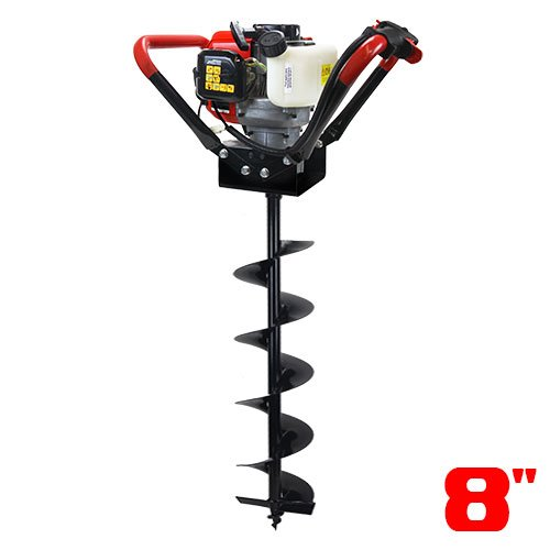 XtremepowerUS V-Type 55CC 2 Stroke Gas Post Hole Digger One Man Auger (Digger + 8''Bit)