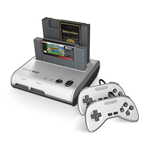 Retro-Bit Retro Duo 2 in 1 Console System - for Original NES and SNES Games - Silver/Black