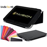 """Invision® Compact & Comfort Cases TM for Amazon Kindle Fire HD / Kindle Wi-Fi, 6"""" / Kindle Fire /– V.2 Full Grade leather (PU) with New Soft Micro-Fibre Inner Lining – TEN COLOURS TO CHOOSE FROM, AVAILBLE WITH BUILT IN AUTO WAKE / SLEEP FUNCTION & MAGNETIC SECURE CLOSE FRONT COVER. (Kindle Fire HD, Black)"""