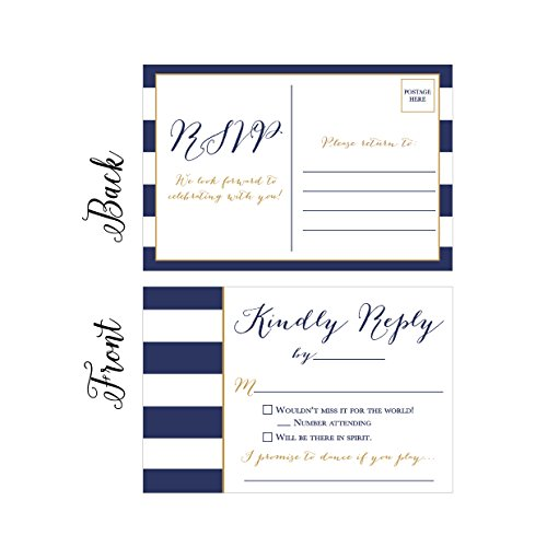 50 Navy RSVP Cards, RSVP Postcards No Envelopes Needed, Response Card, Blank RSVP Reply, RSVP for Wedding, Rehearsal Dinner, Baby Shower, Bridal, Birthday, Engagement, Bachelorette Party Invitations]()