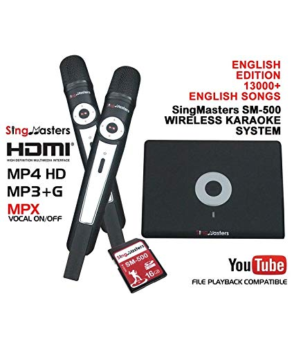 SingMasters Magic Sing English Karaoke Player,13,000+ English Songs,Dual wireless Microphones,YouTube Compatible,HDMI,Song recording,Karaoke Machine ()