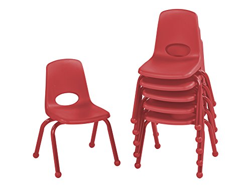 ECR4Kids 12'' School Stack Chair with Powder Coated Legs and Ball Glides, Red (6-Pack) by ECR4Kids