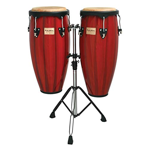 - Tycoon 10 & 11 ARTIST HAND PAINTED SERIES RED REQUINTO CONGAS WITH DOUBLE STAND BOX 1 OF 2