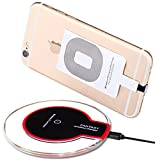 Wireless Charger, Qi Wireless Charging Pad for for iPhone 5 5S 5C 6 6S 6 Plus 6S Plus 7 7 Plus, Samsung Galaxy S7/S7 Edge,S6/S6 Edge HTC NOKIA,Universal For All Qi-Enabled Devices (Black/red)