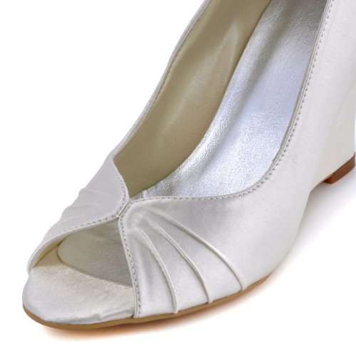 ElegantPark EP2009 Escarpins Femme Compense Satin Bout ouvert Chaussures de mariee mariage bal Ivoire XEDXhjM0