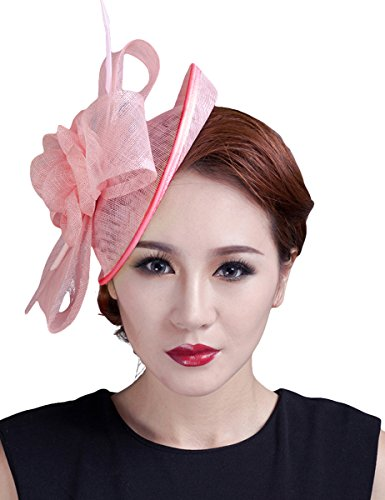 [Aniwon Cocktail Pillbox Hat Fascinator Hair Clip Bridal Headwear for Women] (White Top Hat Fascinator)