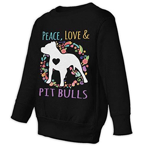 - Kids'/Toddlers' Pullover Hoodie Fleece Peace Love and Pit Bulls Sweatshirt