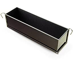 Pate Terrine Mold with Hinges, Non-Stick, 3'' Wide x 3'' High (80mm Wide x 80mm High) - 12'' Long