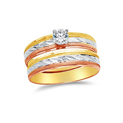 Size - 8.5 - 14k Rose Two Toned Gold Highest Quality CZ Cubic Zirconia Round Bridal Engagement and Wedding Two Ring Set (1/4ct. Center Stone) ()
