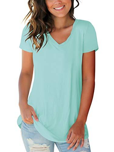 Womens Tops Casual Short Sleeve V Neck Summer Shirts Slim Fit Lake Green S ()