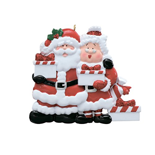 (Personalized Santa Mrs. Claus Present of 3 Christmas Tree Ornament 2019 - Mr. & Miss Red Suit Bring Gifts Family Friend Grand-Child Kid Tradition Gift Year Surprise Toy - Free Customization (Three))
