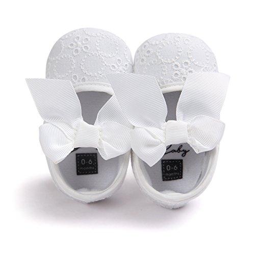 Auxma Bebé Niña Zapatos suela blanda Bowknot Zapatos flor zapatillas prewalker Blanco