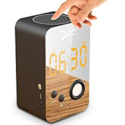 Alarm Clock FM Radio Bluetooth Speaker for Bedrooms Wireless Portable Bedside Speaker LED Alarm Clock Built-in Micro Support TF Card AUX with USB Charging (DY38)