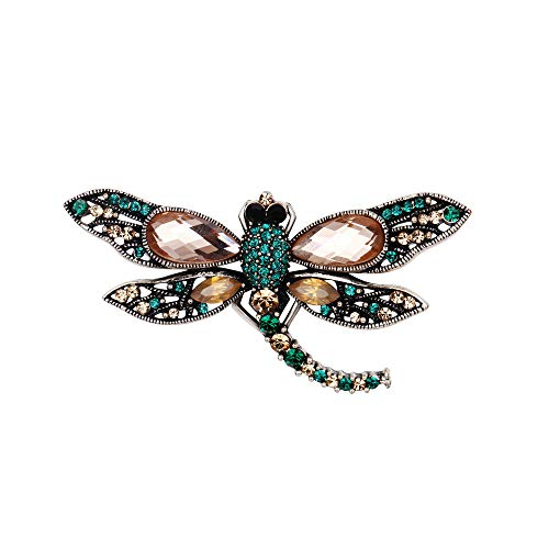 BriLove Crystal Dragonfly Brooch Pin Green/Champagne Antique-Silver-Tone ()