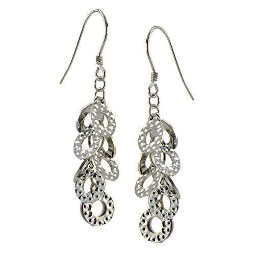 Sterling Silver Cascading Texured Open Circles Dangle Earrings, One Pair Set