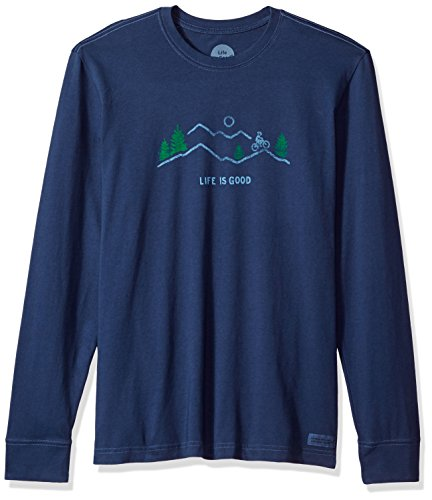 Life is good Men's Crusher Long Sleeve Mountain Bike Vista T-Shirt, Darkest Blue, (Bike Long Sleeve Tee)