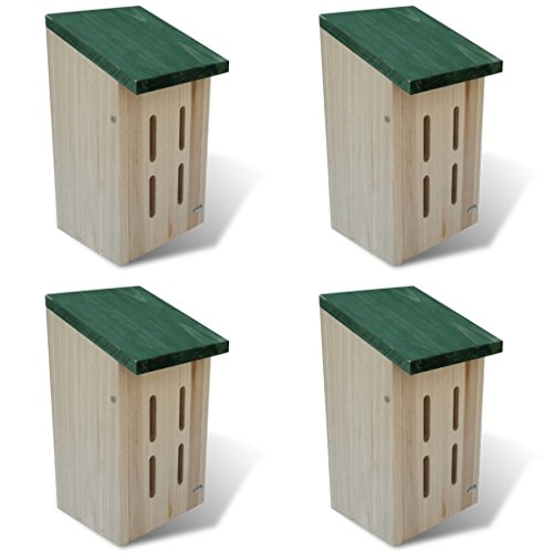 Anself Wood Butterfly House Natural Hibernation Boxes, Set of 4