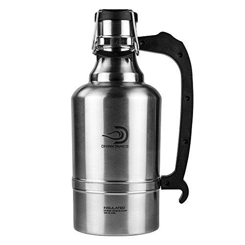 DrinkTanks Vacuum Insulated Stainless Steel Beer Growler, 128 oz.