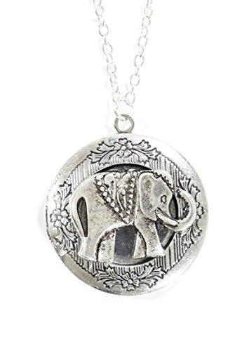 Magic Metal Elephant Locket Necklace Antique Silver Tone Indian African Pendant NP50 Fashion Pendant