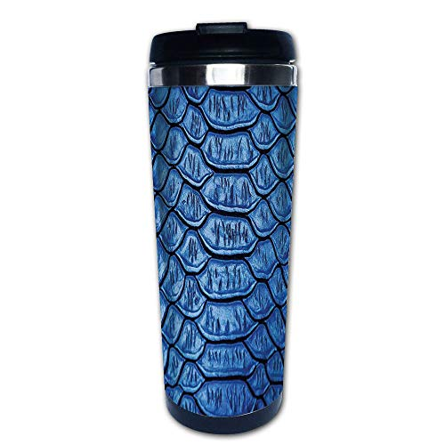 Stainless Steel Insulated Coffee Travel Mug,Snake Skin Pattern Alligator Fancy Luxury Leather,Spill Proof Flip Lid Insulated Coffee cup Keeps Hot or Cold 13.6oz(400 ml) Customizable printing