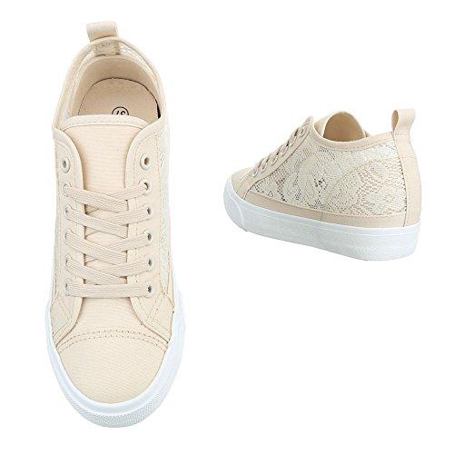 Ital-Design Low-Top Sneaker Damenschuhe Low-Top Keilabsatz/Wedge Keilabsatz Schnürsenkel Freizeitschuhe Beige