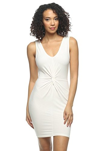 2LUV Women's Sleeveless Front Twist Bodycon Dress White L