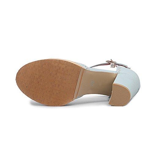 Redonda ancho Hebilla Sólido Sandalia Azul Cerrada Tacón Mujeres Puntera AgooLar Sintético xY0ftw
