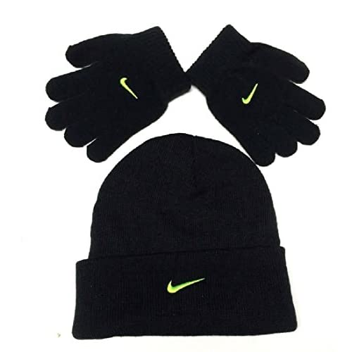 Nike Swoosh Boys Hat and Gloves Set Black/Neon 4/7