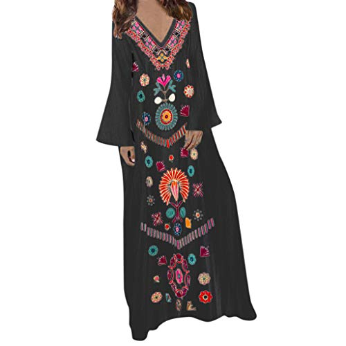 Twinsmall Linen Long Dress, Women's Floral Printed Cotton Linen Long Sleeve Loose Boho Maxi Dress Hem Baggy Kaftan Dress (Black, L2)