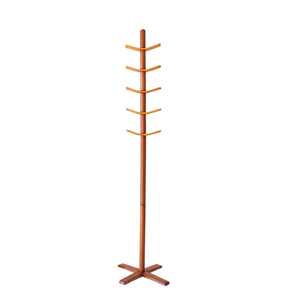 Full solid wood hat rack / entrance hanging hangers / coat rack floor / indoor hanger / main rod diameter 40mm fashion two-color clothing rack(450 450 1800mm) ( Color : Honey color )