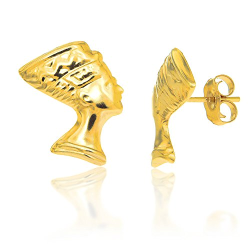 JewelStop 14K Solid Yellow Gold Egyptian Nefertiti Bust Post Stud Earrings
